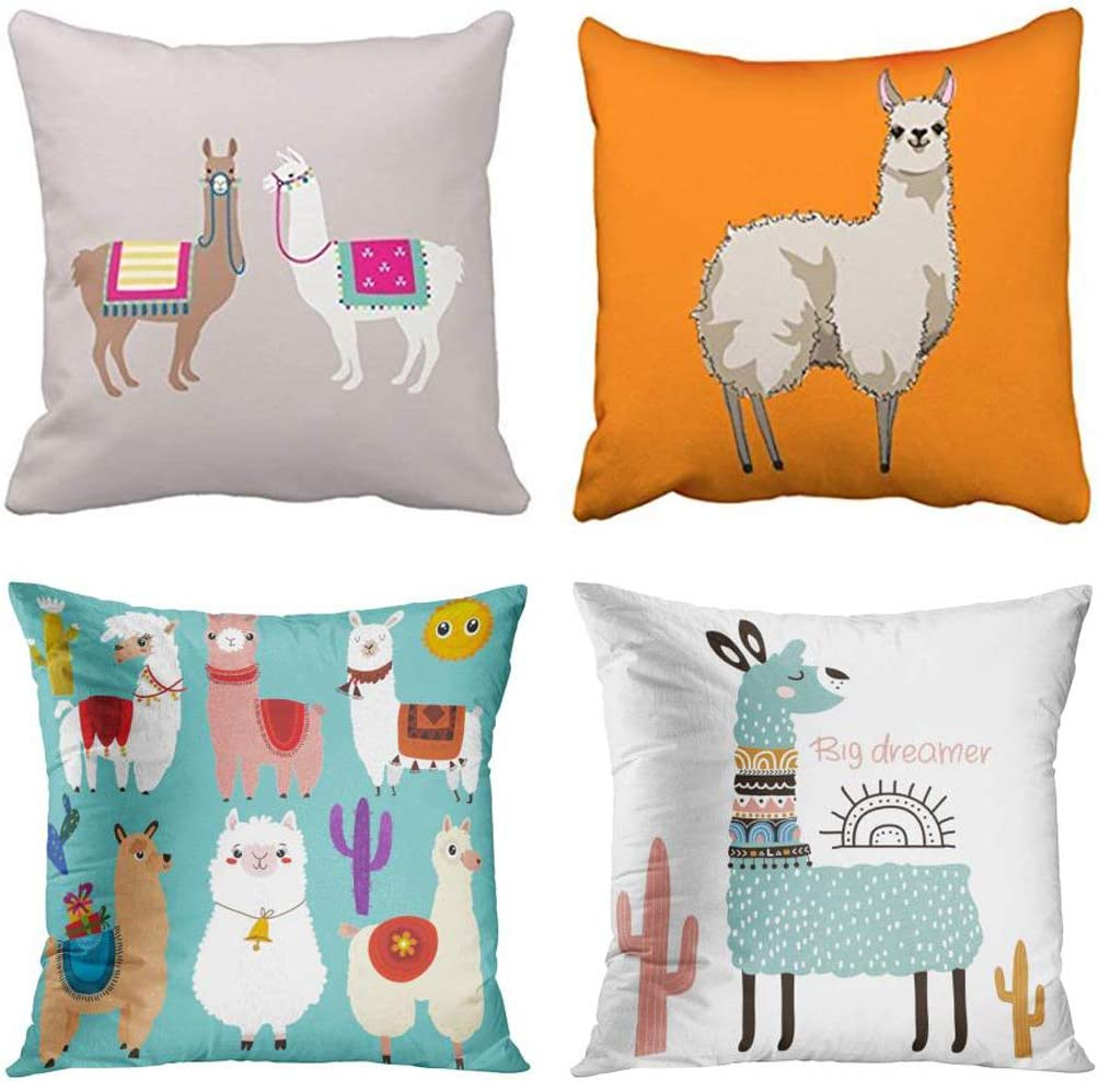 Emvency Set of 4 Throw Pillow Covers Llama Cute Cartoon Drama Ramecame Orange Catoon Abstract Llamas 6 Decorative Pillow Cases Home Decor Square 20x20 Inches Pillowcases