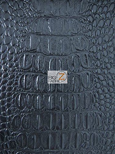 Big Z Fabric BIG NILE CROCODILE FAUX FAKE LEATHER VINYL FABRIC - Black - SOLD BY THE YARD UPHOLSTERY SYNTHETIC GRAIN