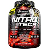 MuscleTech NitroTech Protein Powder Plus Muscle Builder, 100% Whey Protein with Whey Isolate, Strawberry, 40 Servings (4lbs)