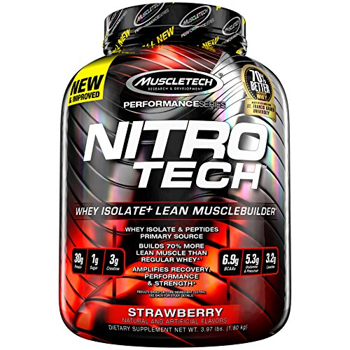 MuscleTech NitroTech Pure Whey Protein, 100% Whey Protein Powder, Whey Isolate and Whey Peptides, Strawberry, 4 Pound