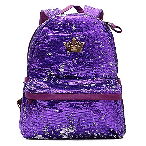 FXTXYMX Cute Backpack Purse PU Leather Sequins Casual Daypacks for Girls (Purple)
