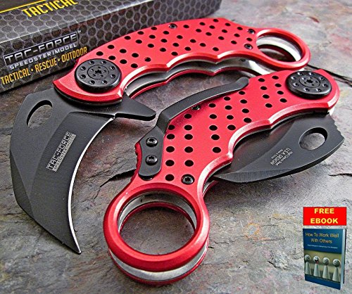 Pocket Knife Folding Tactical Rescue Knife Spring Assisted Open TAC FORCE RED KARAMBIT Fighter TF-621RD + free eBook by Only (Iron Fighter)