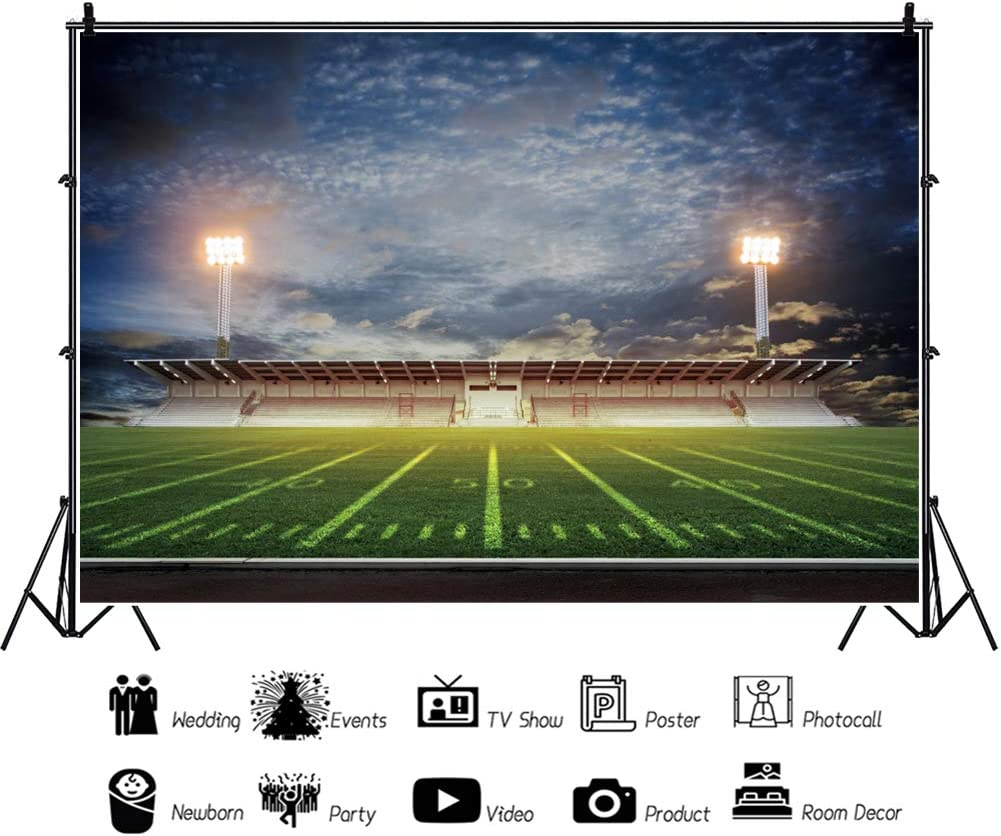 DORCEV 10x8ft American Football Playground Backdrop Outdoor Sports Theme Birthday Party Photography Background Rugby Field Light Grassland School Sports Game Wallpaper Kids Adults Photo Studio Props