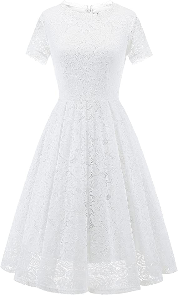 50s Wedding Dress, 1950s Style Wedding Dresses, Rockabilly Weddings DRESSTELLS Womens Bridesmaid Elegant Tea Dress Floral Lace Cocktail Formal Swing Dress $38.99 AT vintagedancer.com