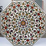 48'' Octagon White Marble Dining Table Top Cum Luxury Masterpiece Inlay Floral Design