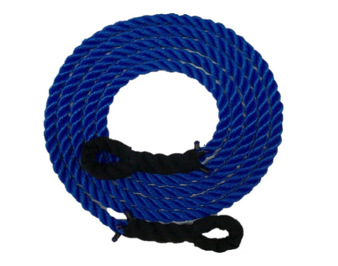 TRIPLE S ROPE Tow Rope Heavy Duty Polypropylene with Loops, 12,500 LBS Breaking Strength for Mid Size Pickups and Cars, Made in the USA 1 inch in diameter (40 Feet)