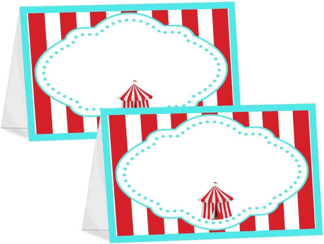POP parties Circus Carnival - 12 Table Tents - Carnival Buffet Cards - Circus Carnival Place Cards - Carnival Decorations - Circus Decorations - Circus Party Supplies