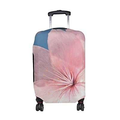 Plants Flower Cherry Blossom Pattern Print Travel Luggage Protector Baggage Suitcase Cover Fits 18-21 Inch Luggage