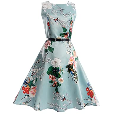 HUIJSNQ Elegant Women Dress Print Vestidos Femme Robe Retro Plus Size Spring Summer Vintage Sleeveless Casual