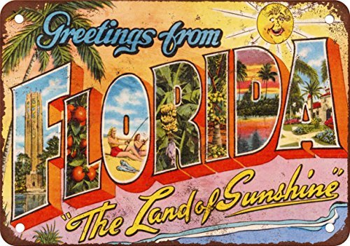Greetings from Florida Vintage Look Reproduction Metal Tin Sign 12X18 Inches 2