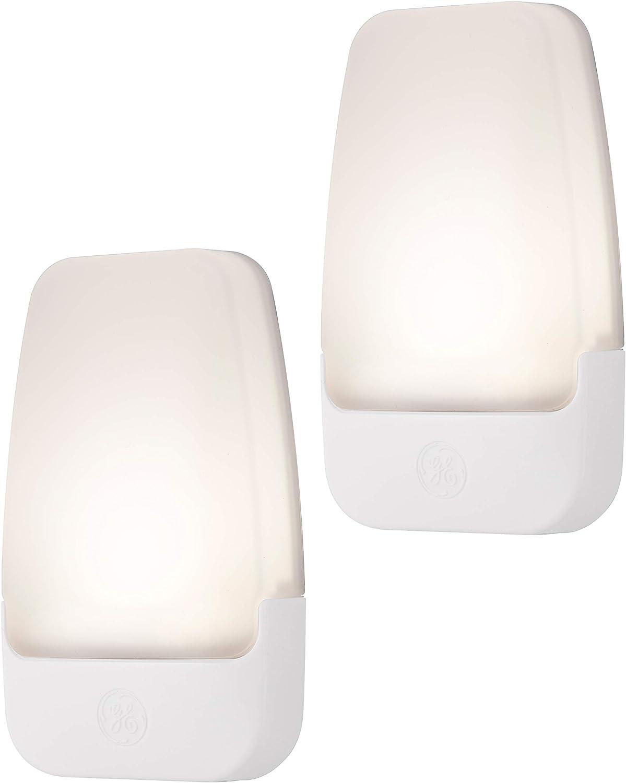 GE 30966 Bright White, 3000K, 2 Pack LED Night Light, Dusk to Dawn Sensor, UL-Listed, Ideal for Kitchen, Home Office, Bedroom, Nursery, Bathroom, 2: Home Improvement