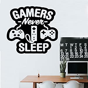 Wall Decals Stickers Gamers Never Sleep for Boys Bedoom Vinyl Sticker Peel and Stick Boys Room Wall Decor Gift for Gamer (Gamer)