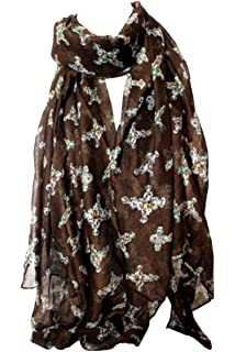 Beautiful Grey Bird and Floral Print Scarf Stole Wrap Shawl Scarves Hijab Head