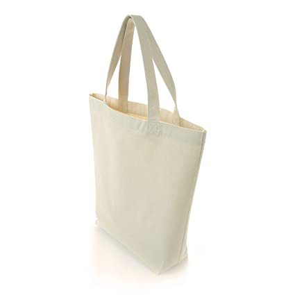e18d23bab1 Heavy Duty Thick Cotton Canvas Blank Tote Bags, Washable Reusable Cloth  Grocery Tote Bag,