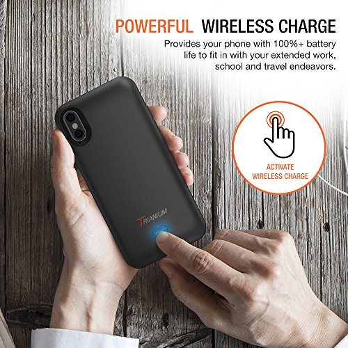 iPhone X Battery Case with Qi Wireless Charging, Trianium 3000mAh [Black] Rechargeable Juice Power Charger Battery Case for iPhone X 10 [Apple Certified Part/Not Support with Wireless Charging Pad] by Trianium (Image #2)