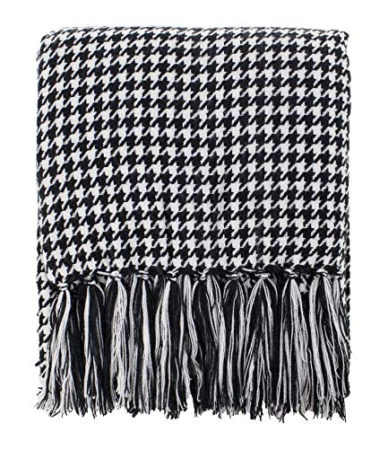 Fennco Styles Houndstooth Fringe Soft Throw Blanket - 50