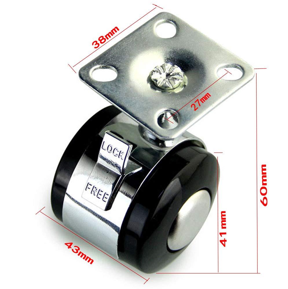 Ruote girevoli per impieghi pesanti da 1,5Ruote girevoli con ruote in poliuretano PU con piastra superiore da 360 /° Portata totale da 220 lb per set di 2 Nero 2 con freno