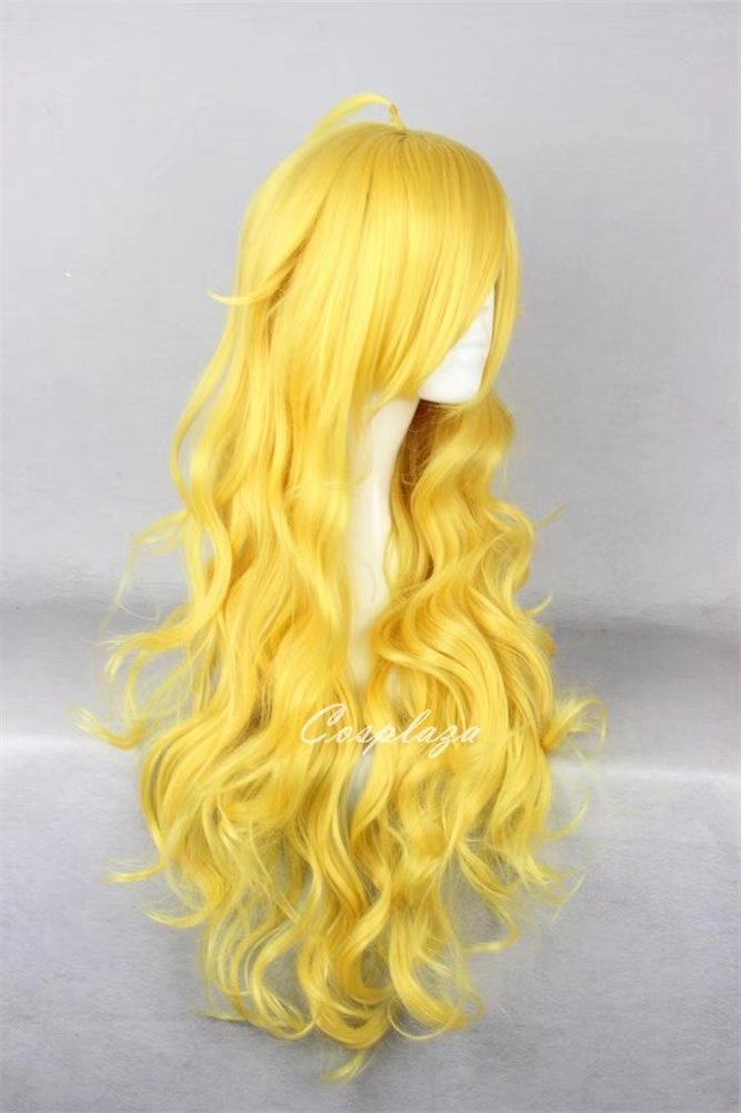 COSPLAZA Yellow Long Wavy Spirals Prestyled Girls Peach Cosplay Wigs Halloween Parade Props