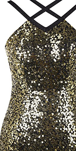 Women's Dress Evening Mermaid Gold Sequin Cross fashions Angel Straps Criss 5wqxUFBngv