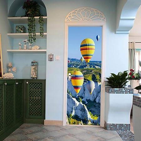 Autocollants Porte 3D Moderne Art Ballon paysage 77x200cm Auto-adh/ésif Poster Porte PVC Sticker Porte Autocollant Trompe l/œil Papier Peint pour Porte Cuisine Salon Chambre Salle de Bain W sc/énique