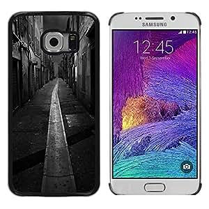 Caucho caso de Shell duro de la cubierta de accesorios de protección BY RAYDREAMMM - Samsung Galaxy S6 EDGE SM-G925 - Black White Italy France City