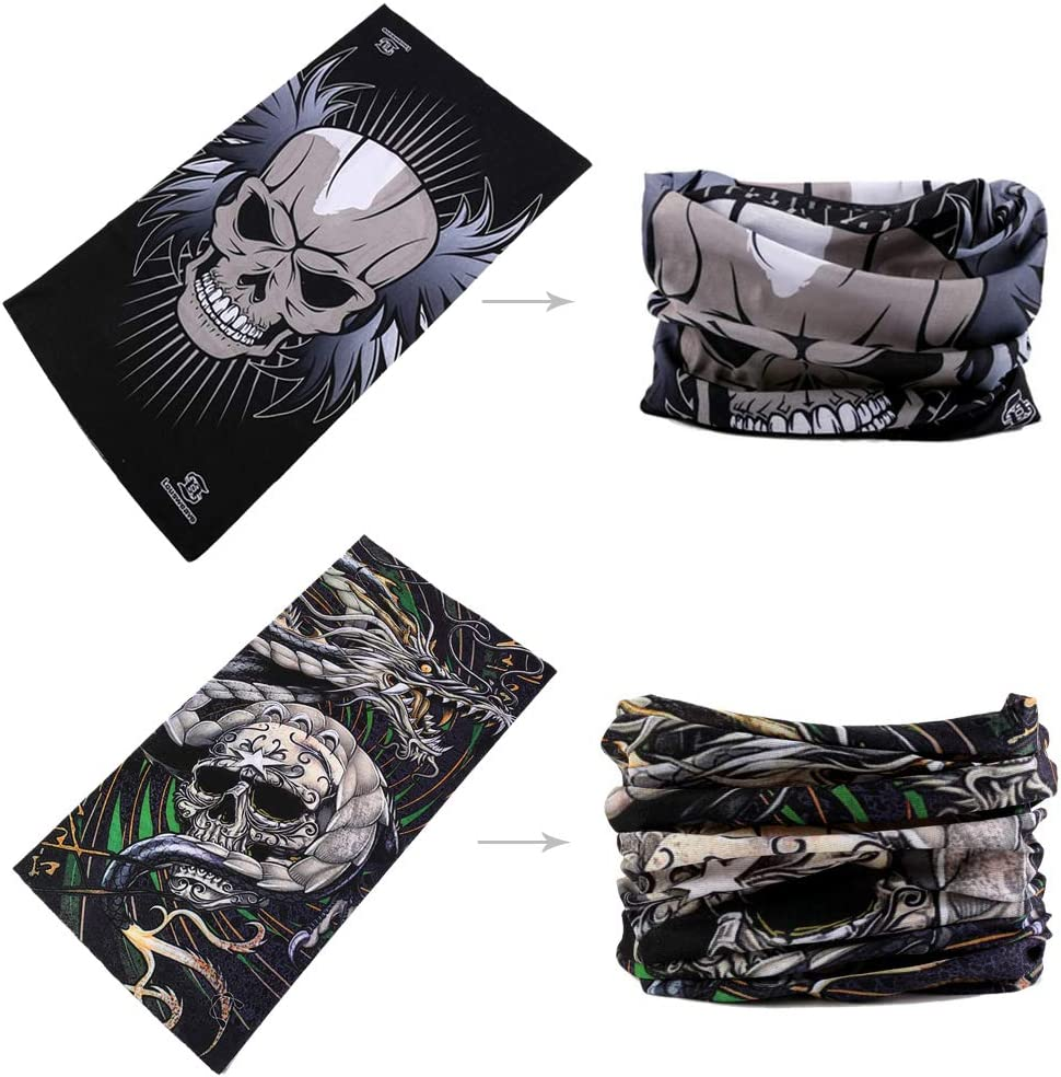Bonnibellee Multifunctional Magic Headbands UV Resistence Bandana Outdoor Scarf Sports Headwear Sweatband 9PCS /& 6PCS