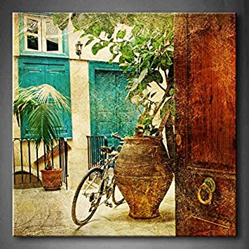 First Wall Art – Greek Villages Artwork In Retro Style With Bike And Old Vase Wall Art Painting Pictures Print On Canvas Architecture The Picture For Home Modern Decoration Stretched By Wooden Frame,Ready To Hang