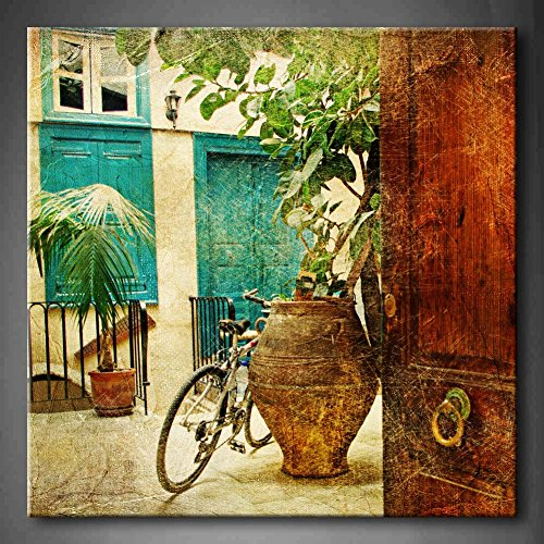 First Wall Art - Greek Villages Artwork In Retro Style With Bike And Old Vase Wall Art Painting
