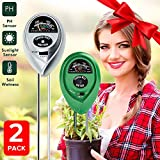2 packs Soil Tester Kit,3-in-1 Soil Moisture Light and PH acidity Tester Plant Tester Indoor Outdoor Soil Moisture Sensor Meter Plant Care Hygrometer Water Monitor for Garden Farm Lawn (Silver+Green)