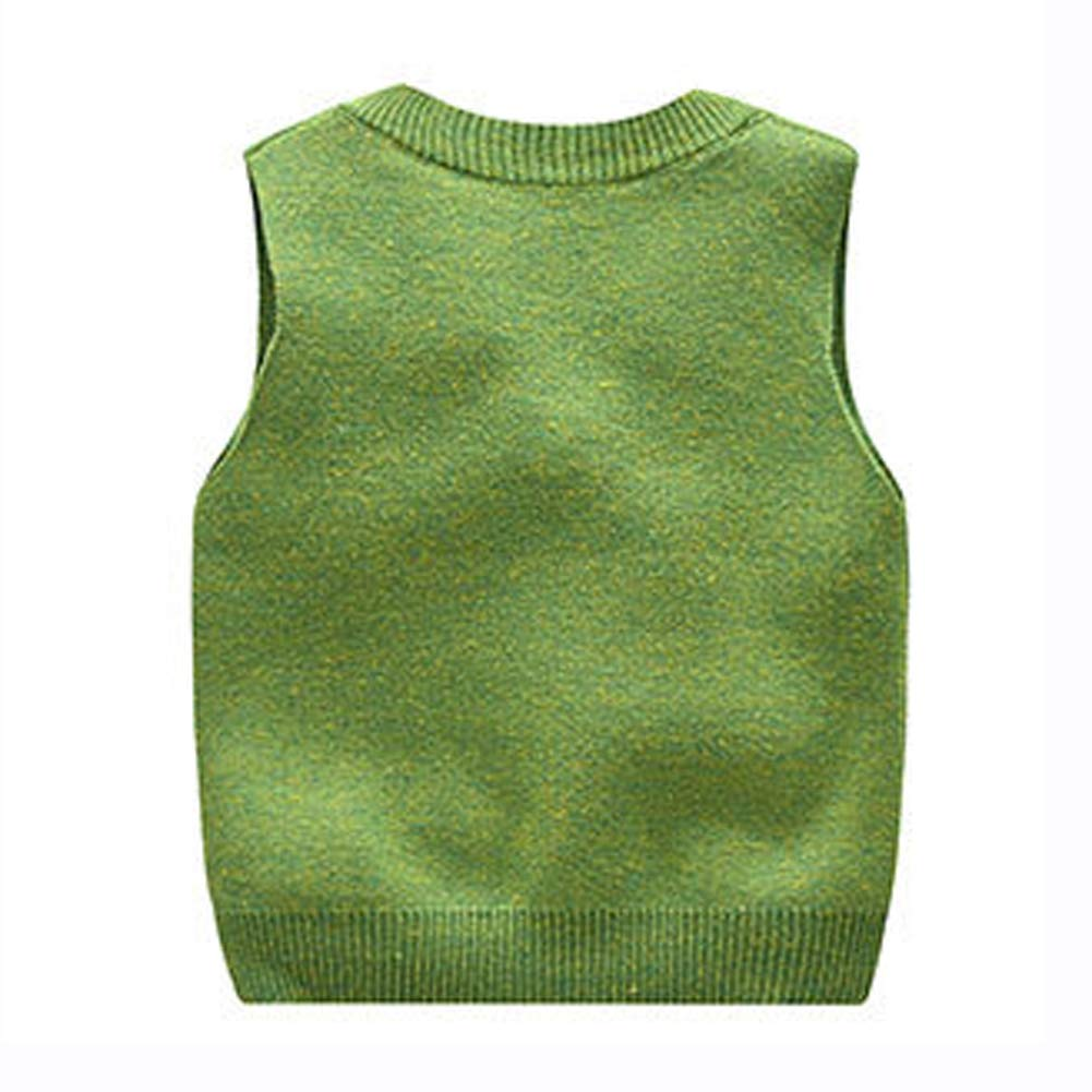 Happy Cherry Unisex Kids V Neck Sweater Vest Knitted Solid Color Waistcoat