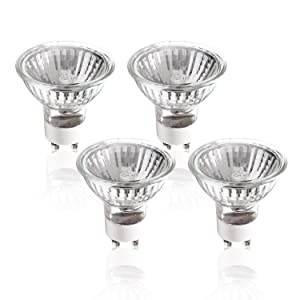 (50% Clearance) (4 pack) 50W GU10 Halogen Compact Size Light Bulb 50 Watts 120V Bright Output Soft White, APL2185