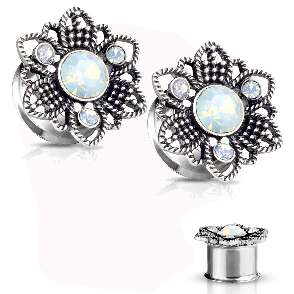 MoBody One Pair Surgical Steel Opalite Stone Flower Front Double Flared Ear Gauges Plugs 2G-12mm