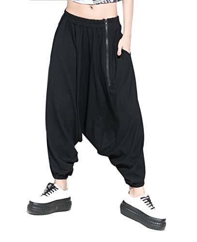 ELLAZHU Women Black Hippie Loose With Zipper Elastic Harem Pants GY943 A