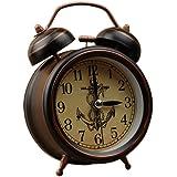 Ladyclare 目覚まし時計 アンティーク ナイトライト付き ベル音 大音量 アナログ 連続秒針 アラームクロック 置き時計 寝室 リビング シンプル おしゃれ 【正規品】 時計