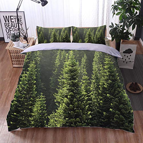 HOOMORE Bed Comforter - 3-Piece Duvet -All Season, Pine Tree,HypoallergenicDuvet-MachineWashable -Twin-Full-Queen-King-Home-Hotel -School