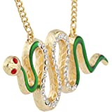Lux Accessories Gold Tone Green Enamel Red Eye Crystal Rhinestone Snake Necklace