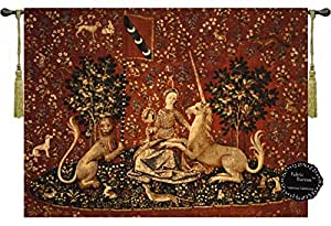 """Sight-the Lady and the Unicorn Medieval Jacquard Woven 47""""w X 34""""l Wall Hanging Tapestry"""