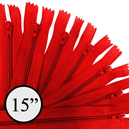 KGS 15 inch Nylon Zipper #3 Zipper | 12 Zipper/pack - Zipper Red