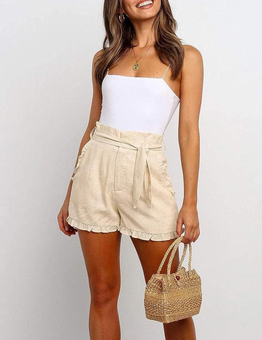 Eddoyee Womens Casual Elastic Shorts Ruffle Trim High Waist Lounge Pant Summer Vacation