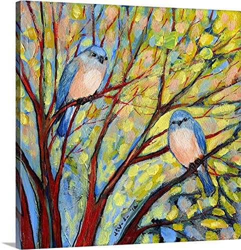 Wall Bluebird (Jennifer Lommers Premium Thick-Wrap Canvas Wall Art Print entitled Two Bluebirds 20