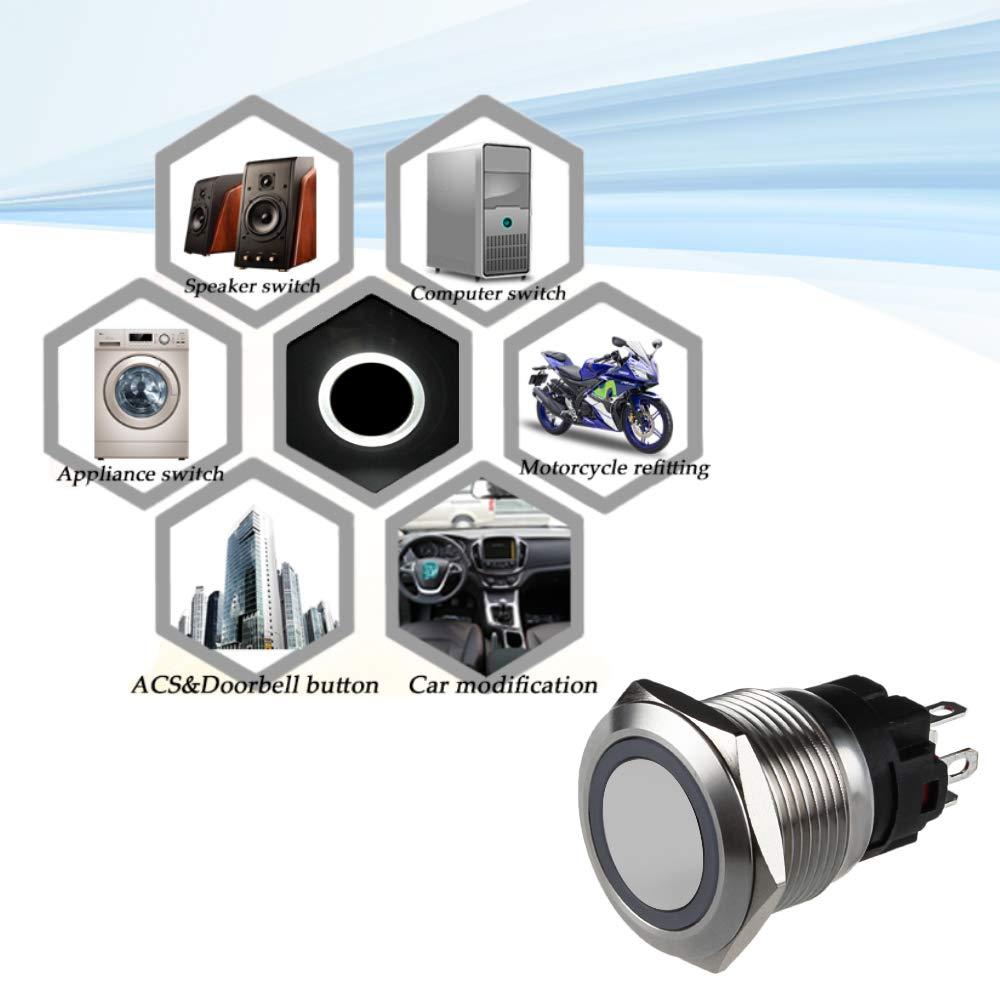 SENZEAL Interruttore a Pulsante momentaneo Acciaio Inox 12V 16mm Angel Eye LED Light con Presa Presa Bianca