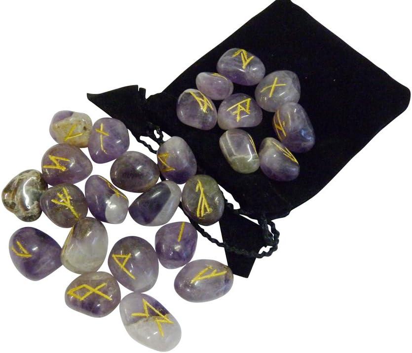 Magic Items runas Amethyst futhark Esoterik piedras preciosas adivino Orakel runas Set