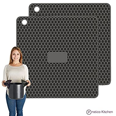 Pratipad PLUS 4-in-1 Multipurpose Silicone Pot Holders, Trivets, Jar Openers, & Spoon Rests - Extra Thick Protection - Set of 2 Dark Grey