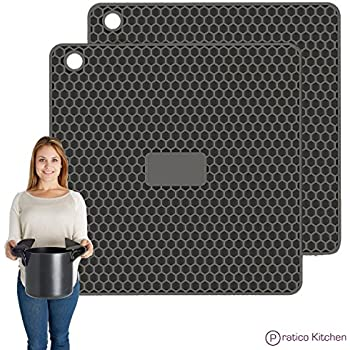 PratiPad PLUS 4-in-1 Multipurpose Silicone Pot Holders, Trivets, Jar Openers, & Spoon Rests - Extra Thick Protection - Set of 2 - Dark Grey