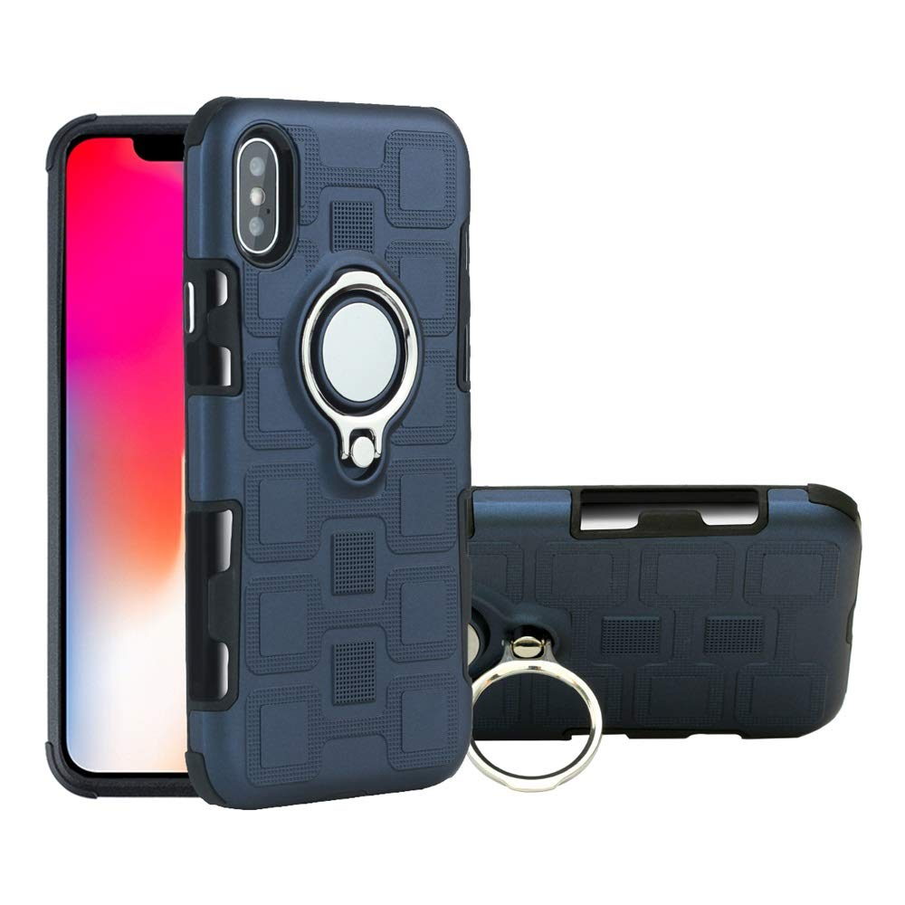 Case for Apple iPhone XR Phone Case with Kickstand Heavy Duty Shockproof Hard PC Cover Magnetic Ring Holder Stand