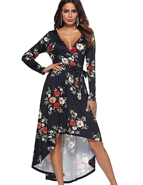 01e09ec26e6 Tiowea Women Casual V-Neck Long Sleeve Print Asymmetry Hem High Waist Dress  Dresses at Amazon Women s Clothing store