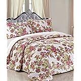 BNF HOME Printed Flannel Blanket 3 PCs Set, Violet Red Flower