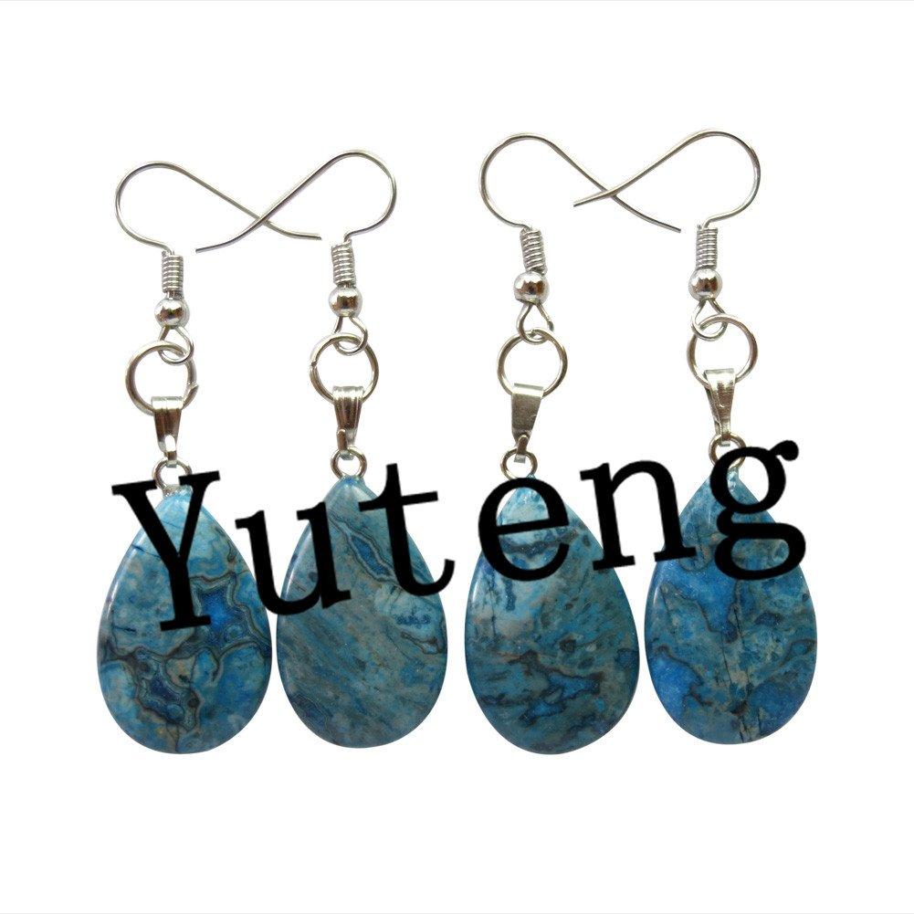 f56ecece8c131 Teng Yu® 2 Pairs Beautiful Blue Crazy Lace Agate Teardrop Earrings