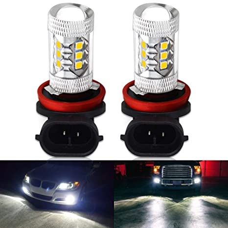 Pack of 2 Yaoho H8 H11 16SMD 80W High Power LED Fog Lights Bulbs White