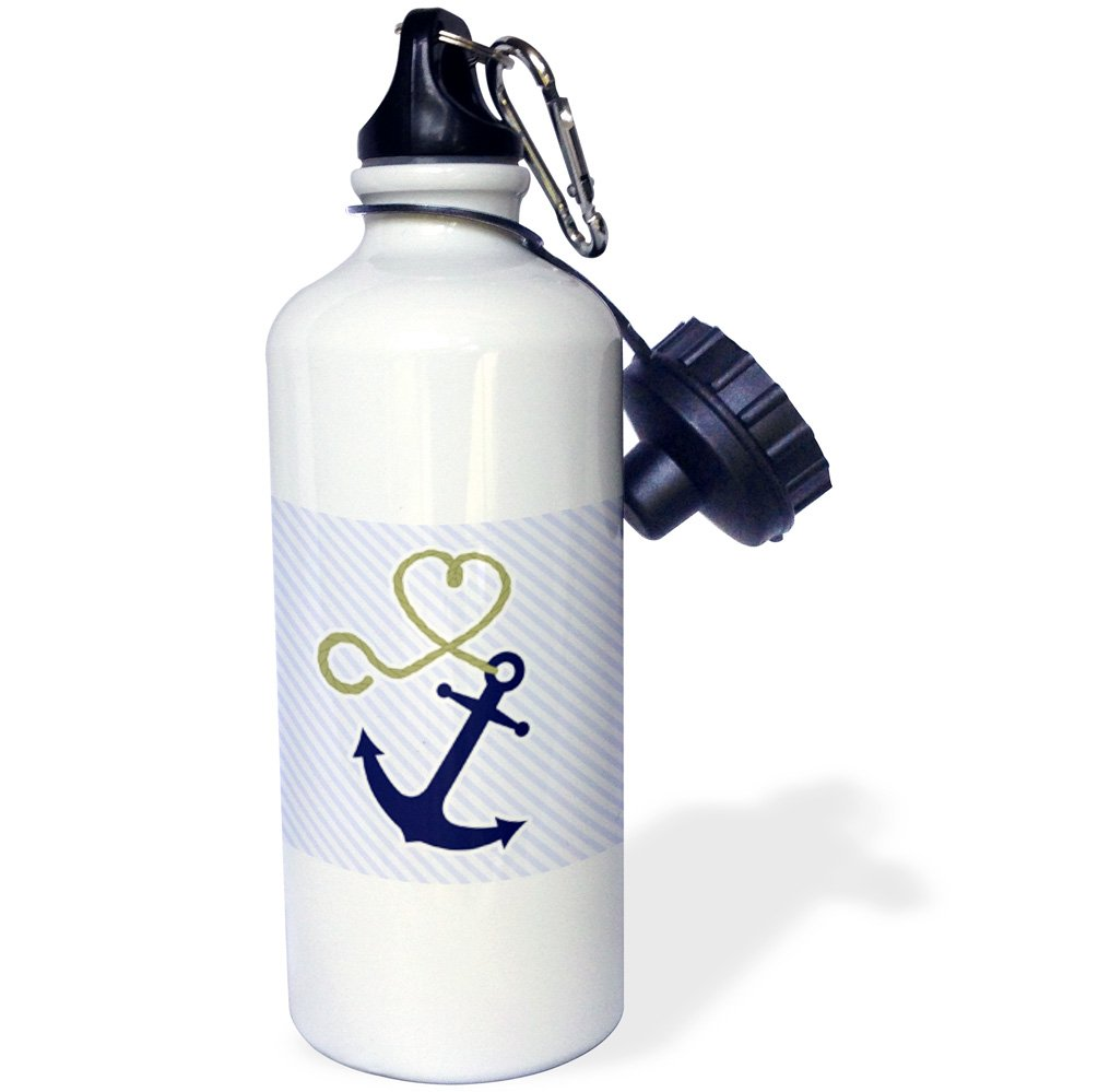 3dRose wb/_165815/_1 Cute Anchor and Heart Rope Blue Sports Water Bottle 21 oz Multicolored